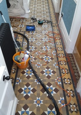 Victorian Tiled Hallway Grapenhall Before Cleaning