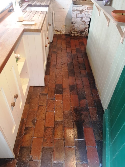 Brick Tiled Kitchen Floor After Cleaning Church Minshull
