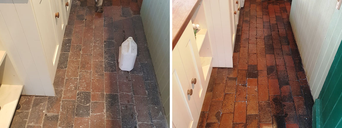 Brick Tiled Kitchen Floor Before After Cleaning Church Minshull