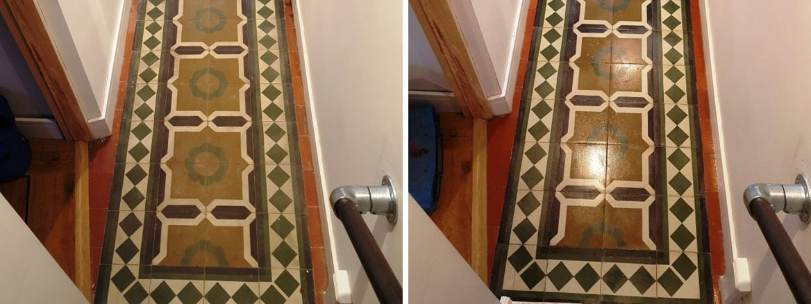 Encaustic Tiled Hallway Padgate Before After Cleaning