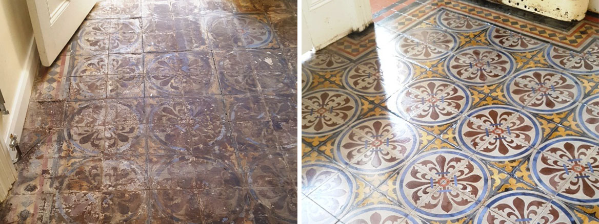 Encaustic tiled hallway before after restoration in Chester