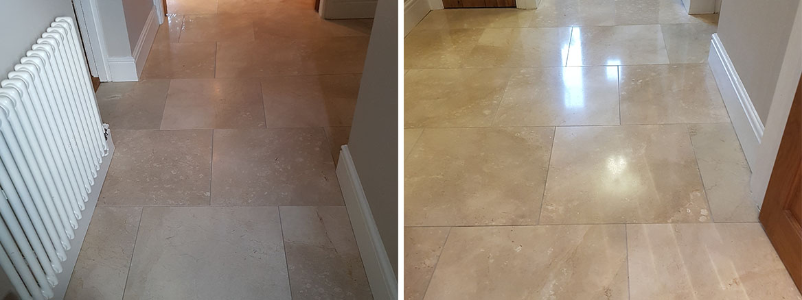 Marble Tiled Floor Before After Cleaned and Polished Willington Cheshire