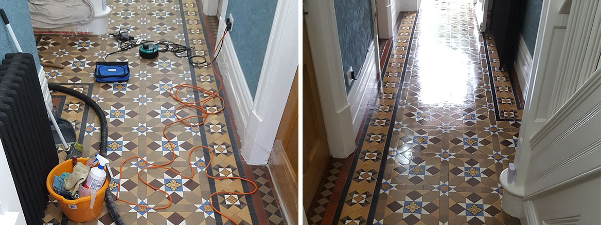 Victorian Tiled Hallway Grapenhall Before After Cleaning