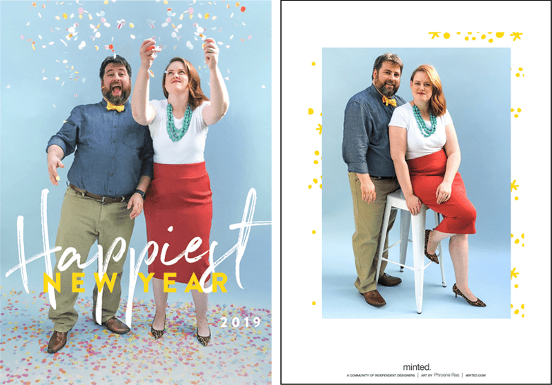 card with couple dressed in bright clothing throwing confetti in the air on a blue background