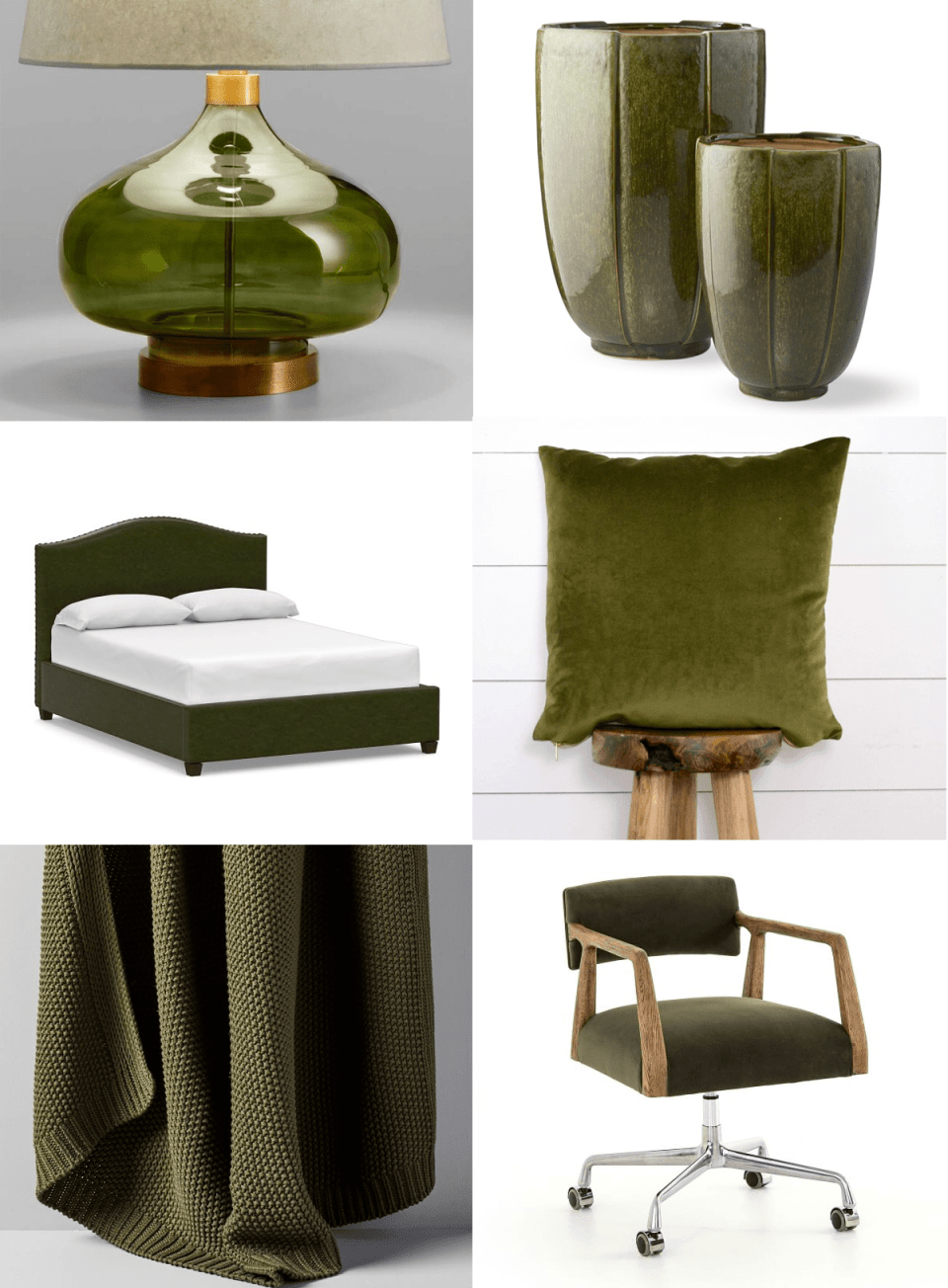 grid showing a green glass lamp, green ceramic vases, a green leather headboard, a green velvet pillow, a green knit throw, and a green velvet office chair