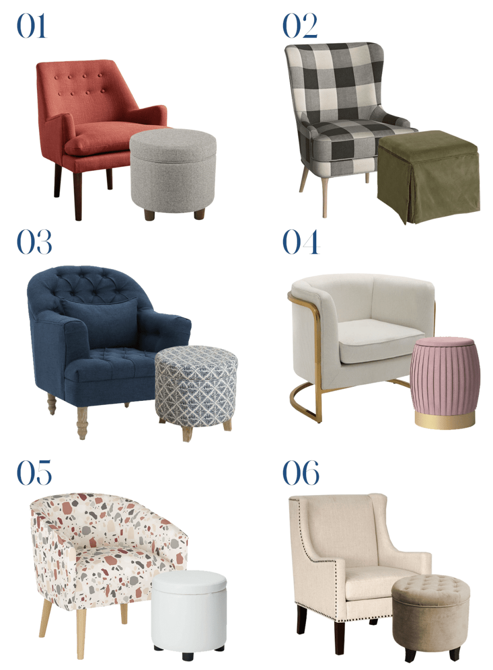 6 armchair and storage ottoman pairs for your home office