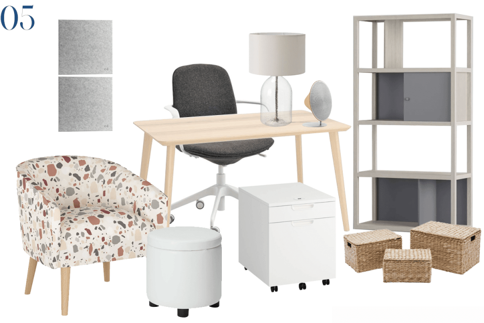 moodboard showing furniture for a home office with modern grey and white bookcase and file cabinet, a light ash desk and a modern terrazzo print chair in shades of pink