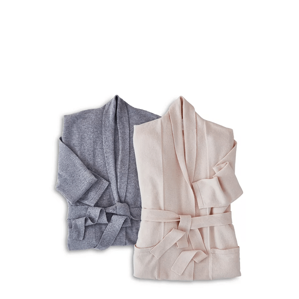 image of grey and pink cashmere blend robes