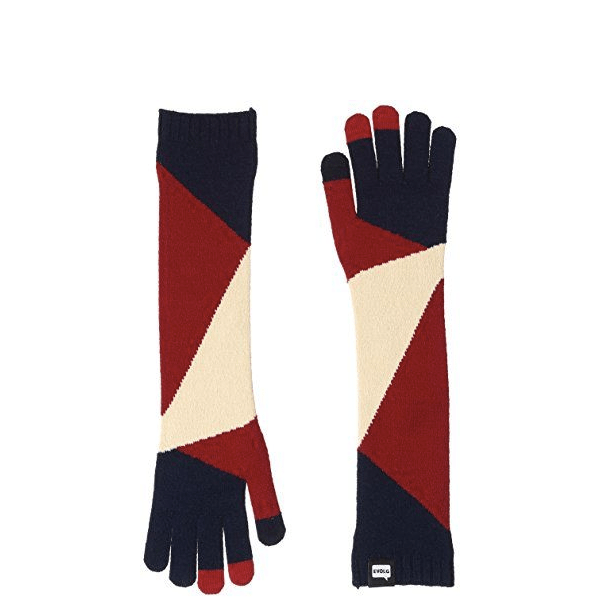 image of knit mittens with modern abstract pattern in red and cream, with tech fingertips
