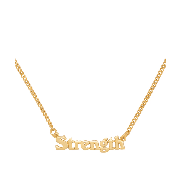 image of gold necklace with the word strength on a fine chain