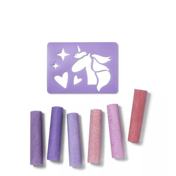 image of pink and purple glitter chalk with purple stencil of a unicorn
