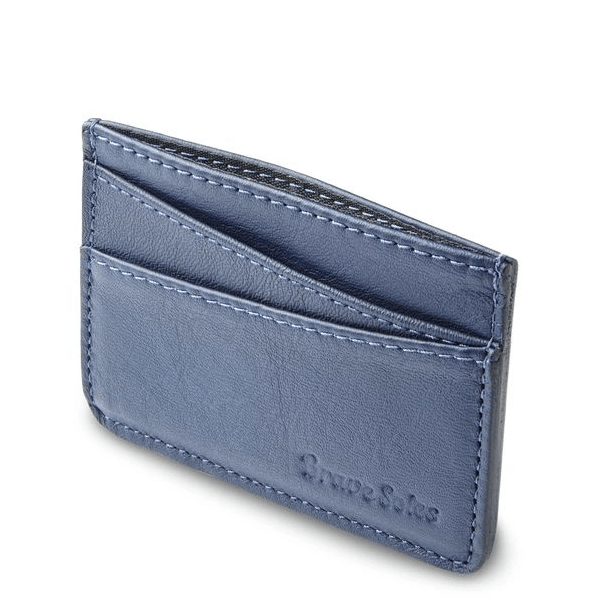 image of light blue leather card holder from brave soles