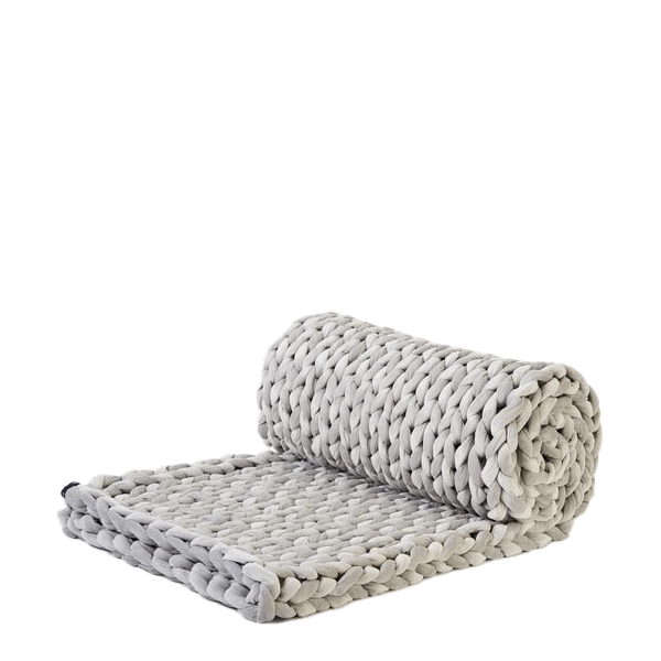 image of overscale knit weighted blanket in light grey velvet