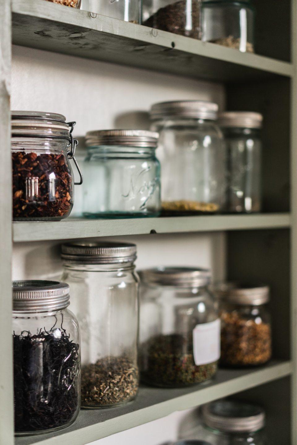 image of jars on a shelf