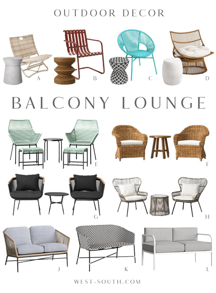 round up of balcony lounge furniture by West-South