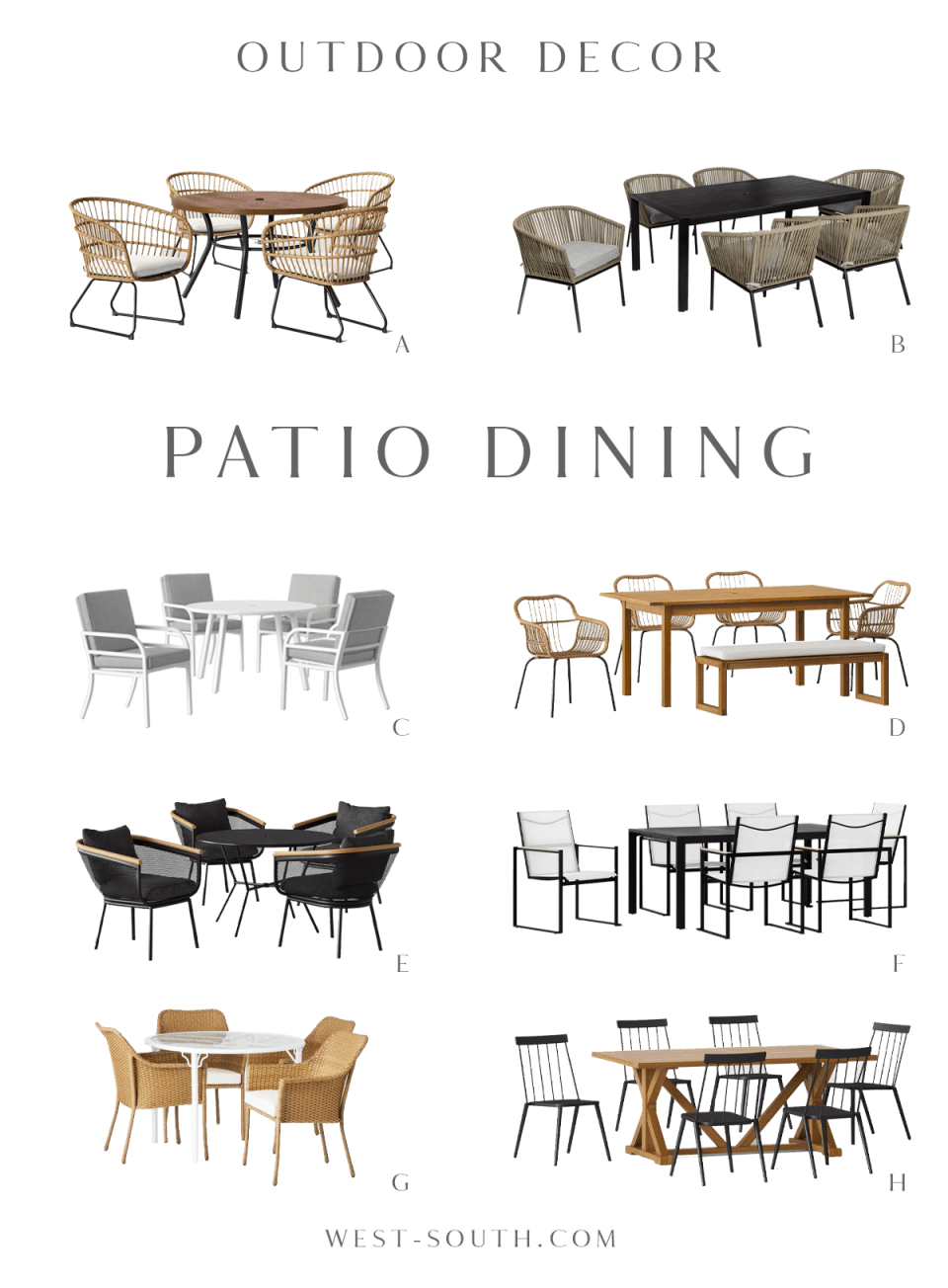 round up of patio dining furniture by West-South