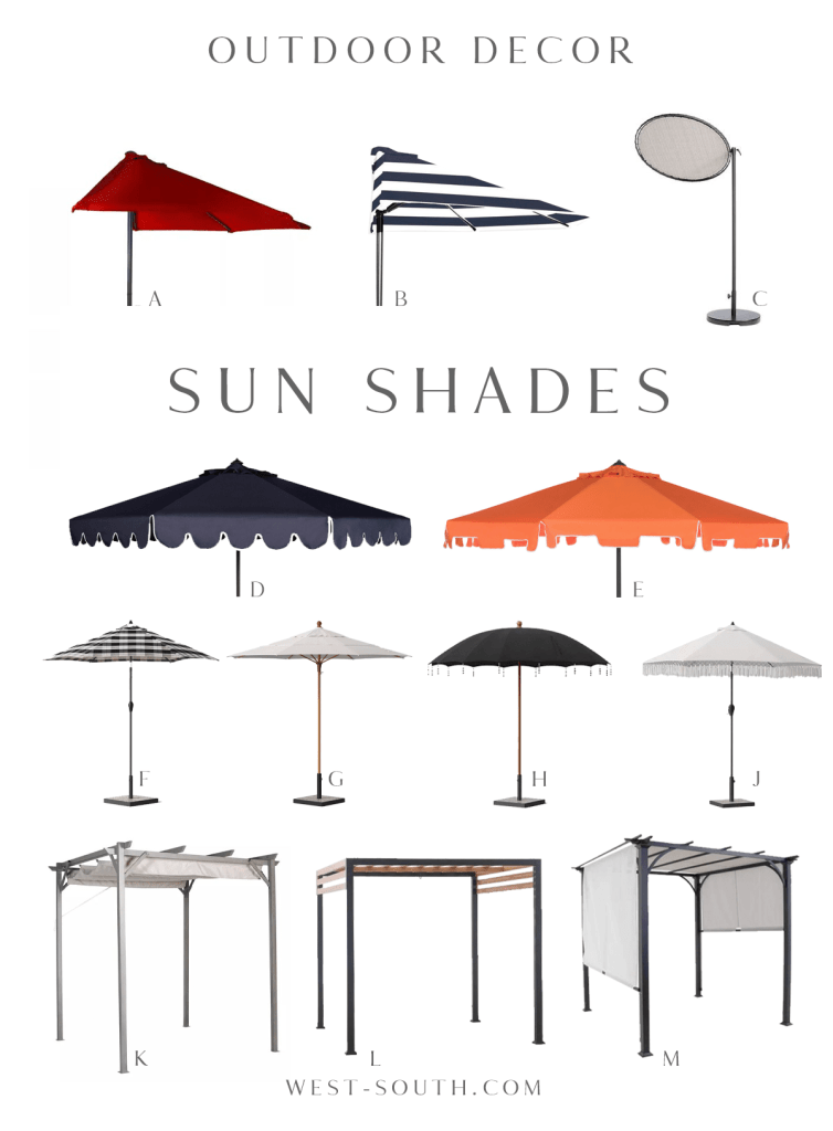 round up of sunshades and umbrellas by West-South