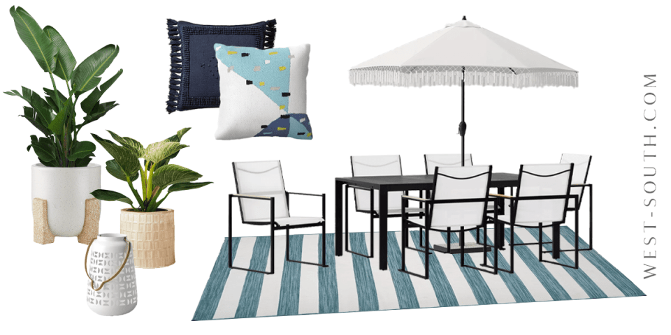 image of colorul patio dining set up
