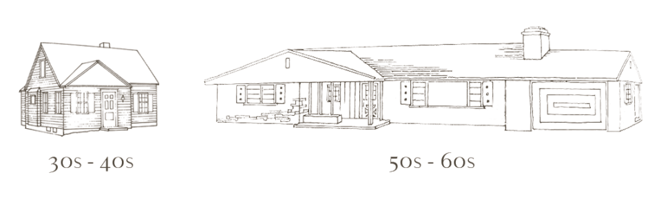 drawing of 1930s neo-traditional cottage next to a 1950s ranch house with quirky details