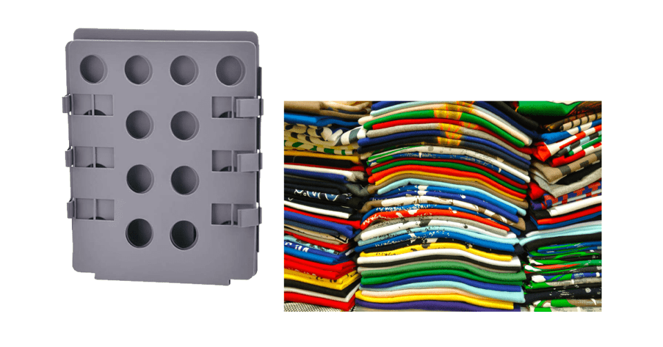 image of grey plastic folding board next to perfectly stacked tee shirts