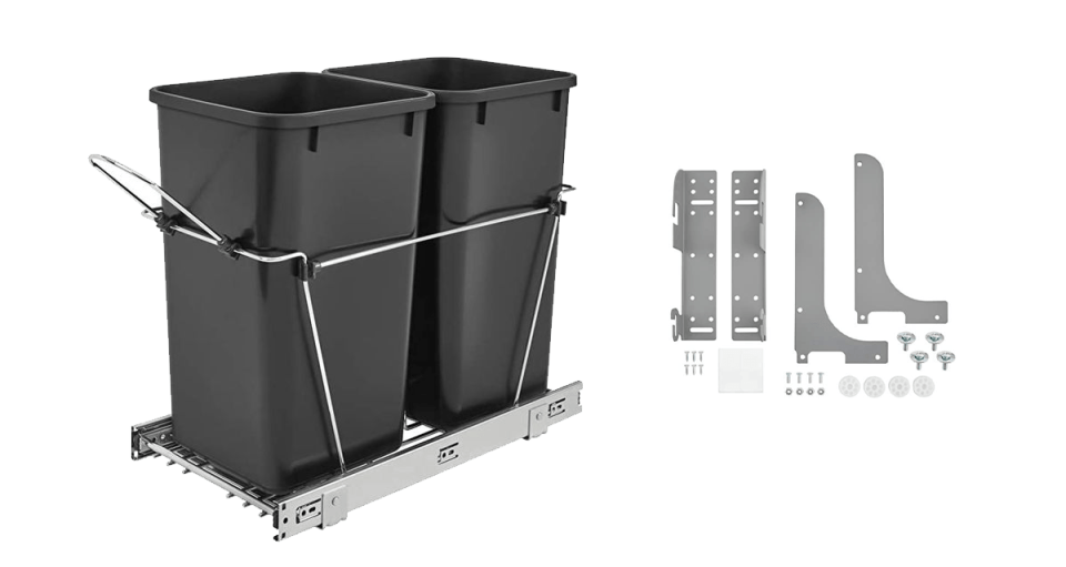 image of rev-a-shelf pull out trash and recycling bins