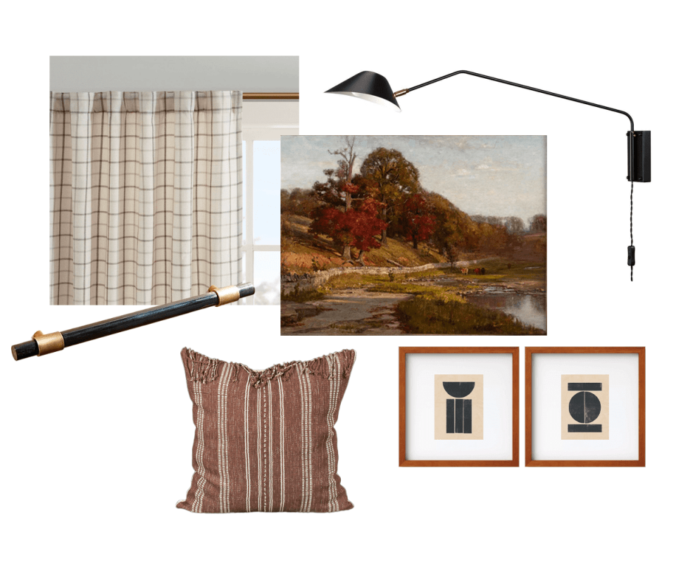 image of brown check curtains, vintage landscape painting with red leaved trees, modern chapeaux wall sconce, black horn cabinet pull, karen tribal fabric pillow in brick red, and modern block prints in square mahogany wood frames with a white matte