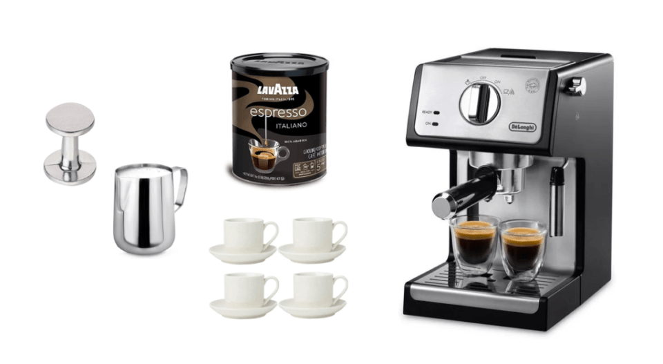 image of a small at home espresso maker with froth pitcher, tamper, lavazza espresso and four espresso cup and saucers