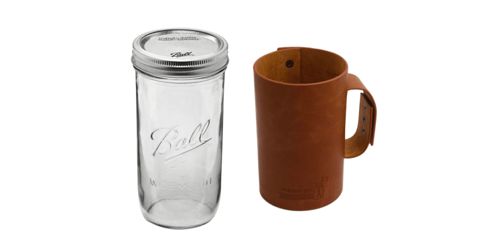 image of a half pint glass ball jar next to a leather jar wrap with a leather handle