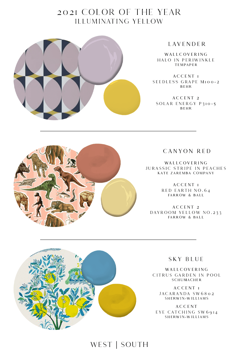 image of lavender wallpaper with behr seedless grape and solar energy paints; peach wallpaper with dinosaurs and farrow and ball red earth and dayroom yellow paint; lemon wallpaper with sherwin-williams jacaranda and eye catching paint