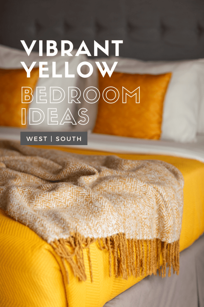 image for pinterest reading vibrant yellow bedroom ideas with a grey tufted headboard and yellow bedding