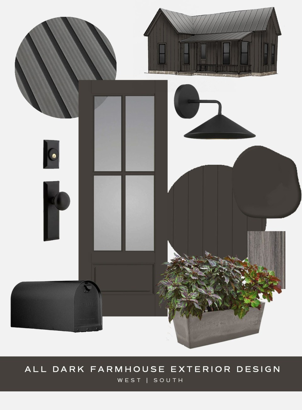 moodboard showing pieces for all dark farmhouse style curb appeal