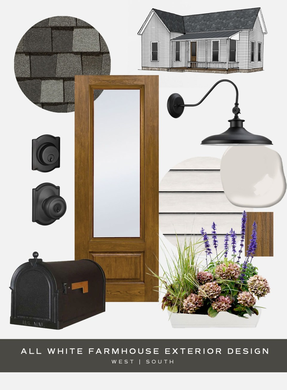 moodboard showing piece for an all white farmhouse style curb appeal