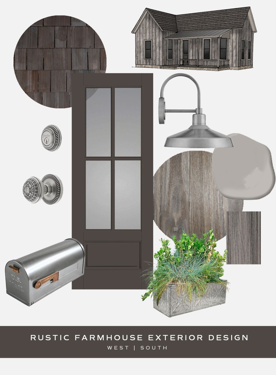 moodboard showing rustic farmhouse style curb appeal