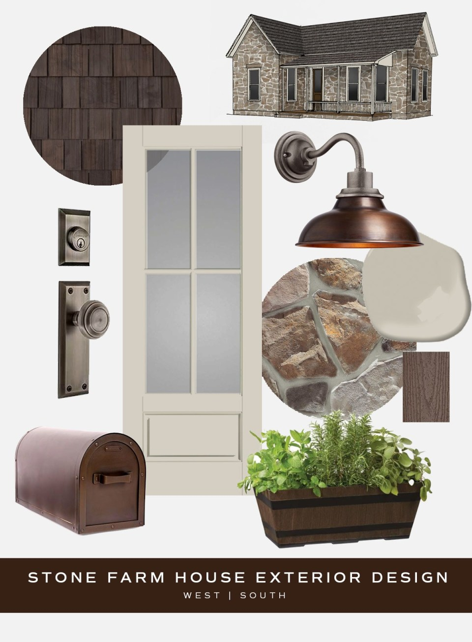 moodboard showing pieces for stone farmhouse style curb appeal