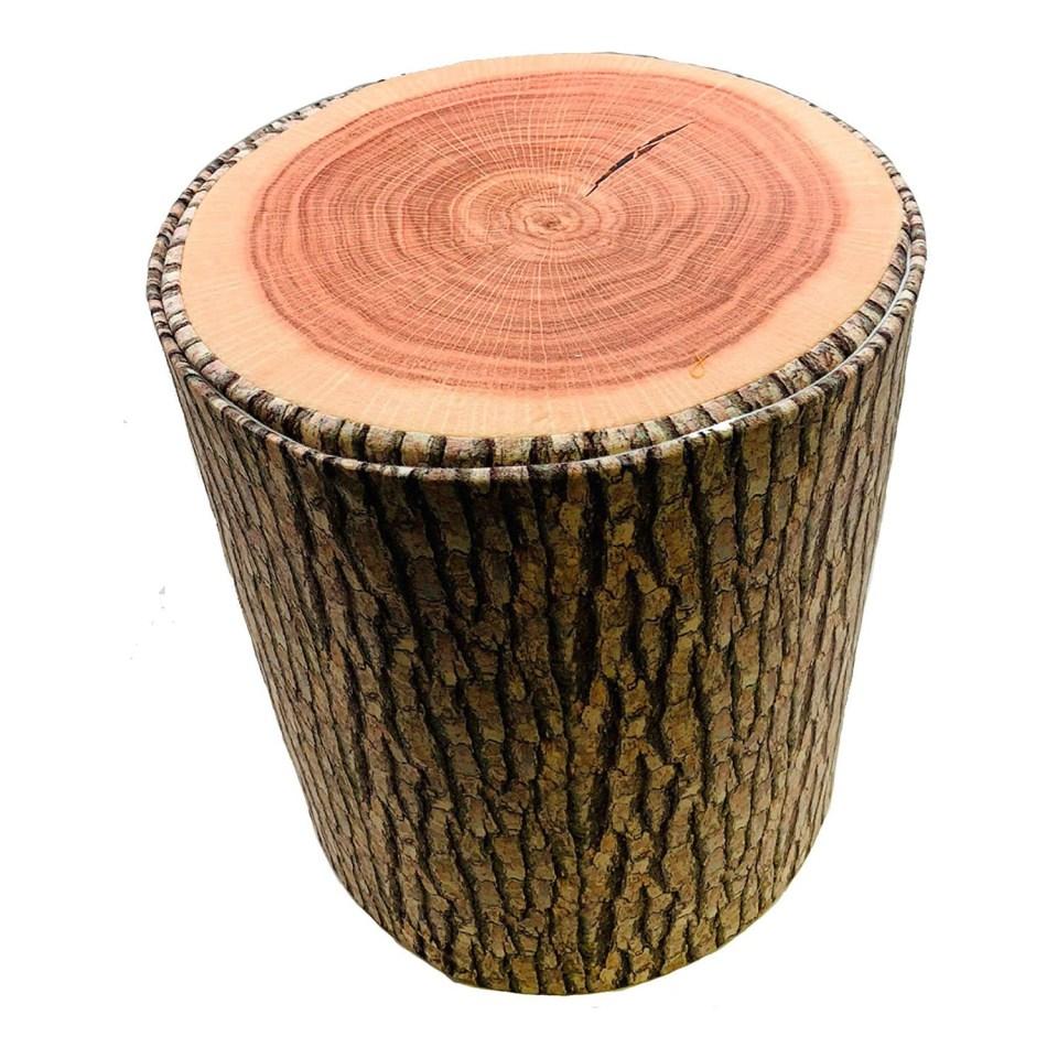 a storage stool that looks like a cut log