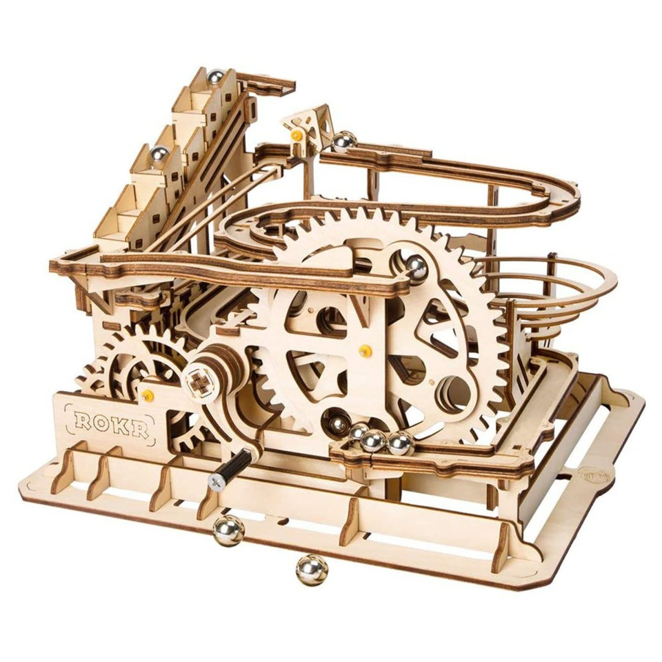 wooden puzzle of a marble run
