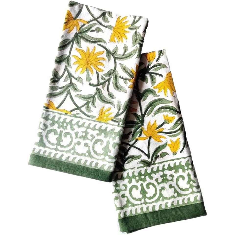 green and yellow blockprinted cotton dinner napkins