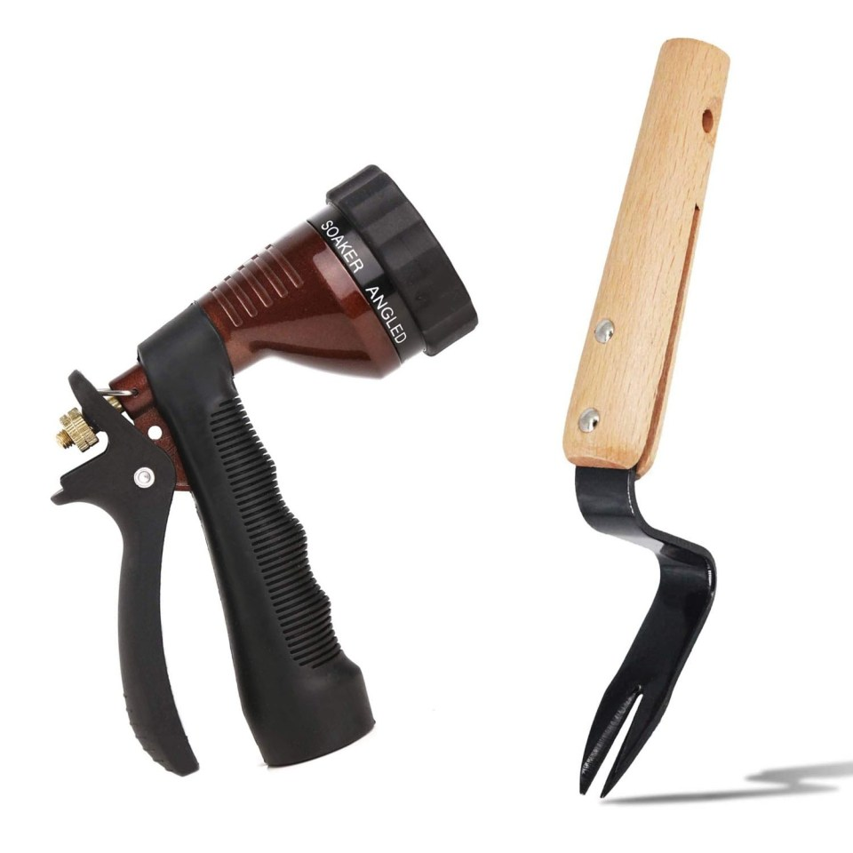 bronze water hose nozzle and wood weed fork