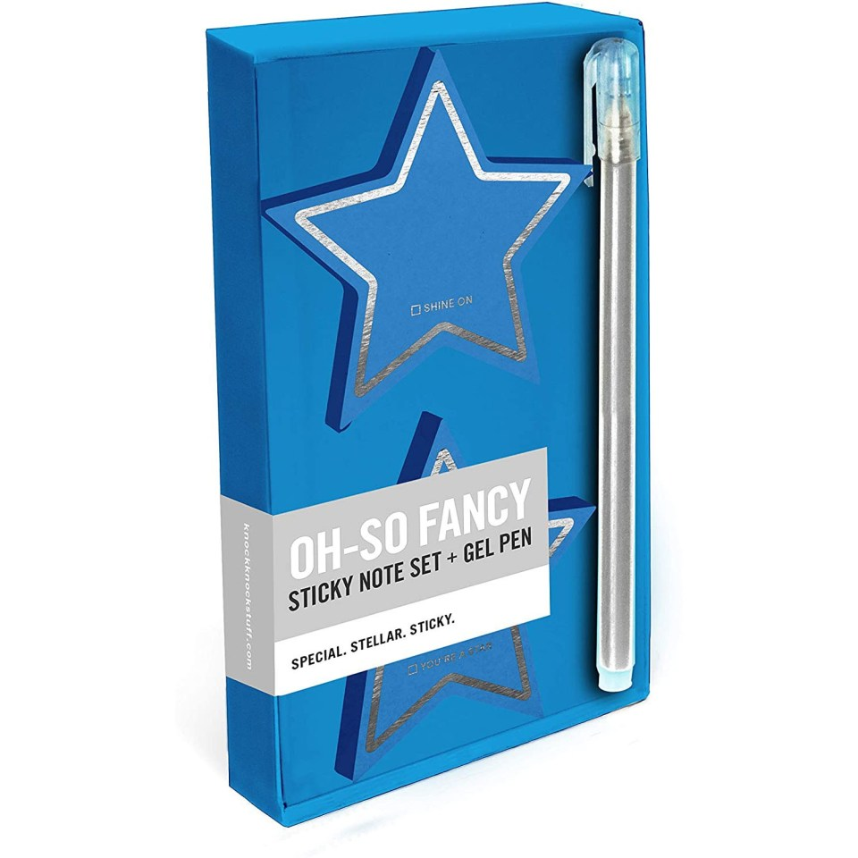turquoise star sticky notes with silver pen
