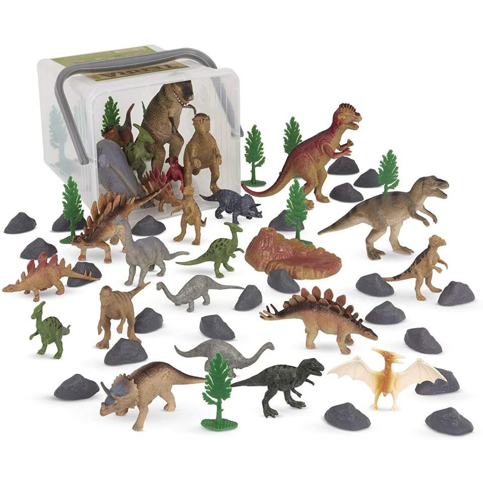 plastic dinosaur and tree set