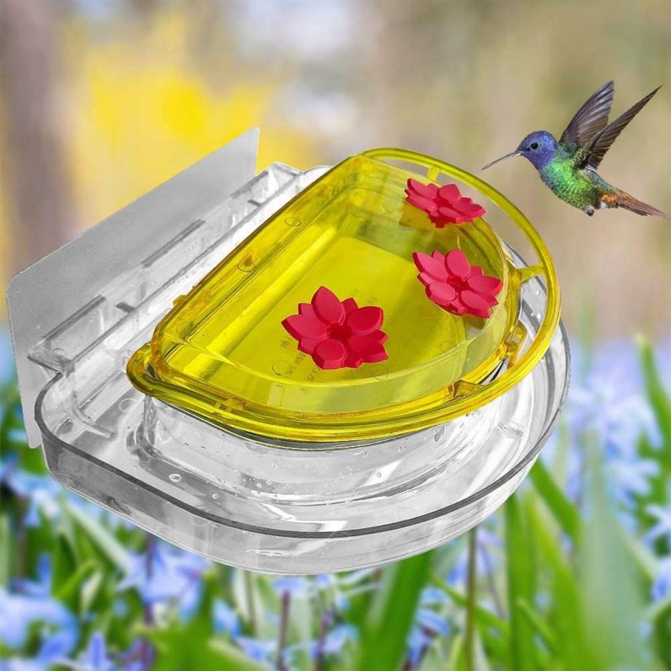 hummingbird feeder with bright yellow lid