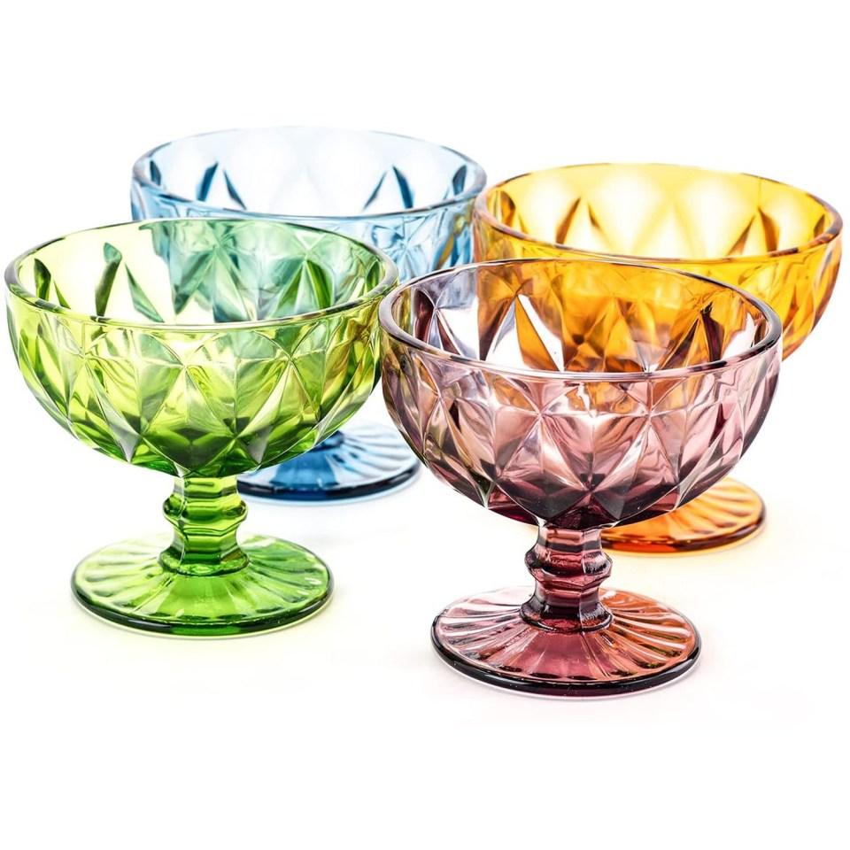 multicolor glass ice cream dishes