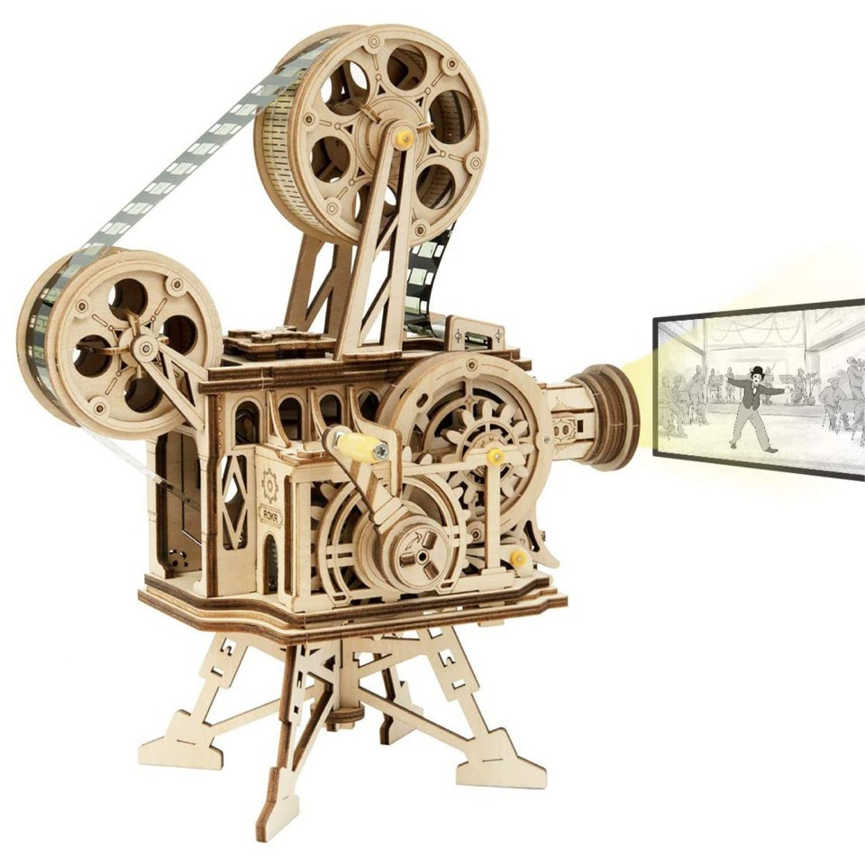 wooden puzzle of a film projector