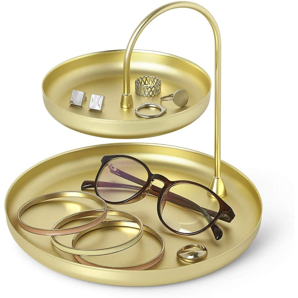 gold double tiered jewelry tray with rounded edges