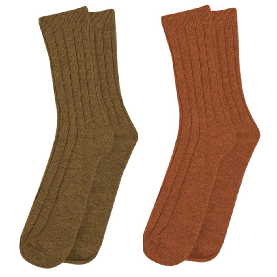 State Cashmere Rust and Brown Socks