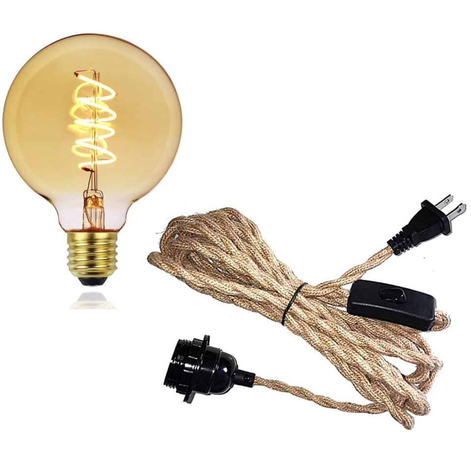round edison bulb with twisted rope cord