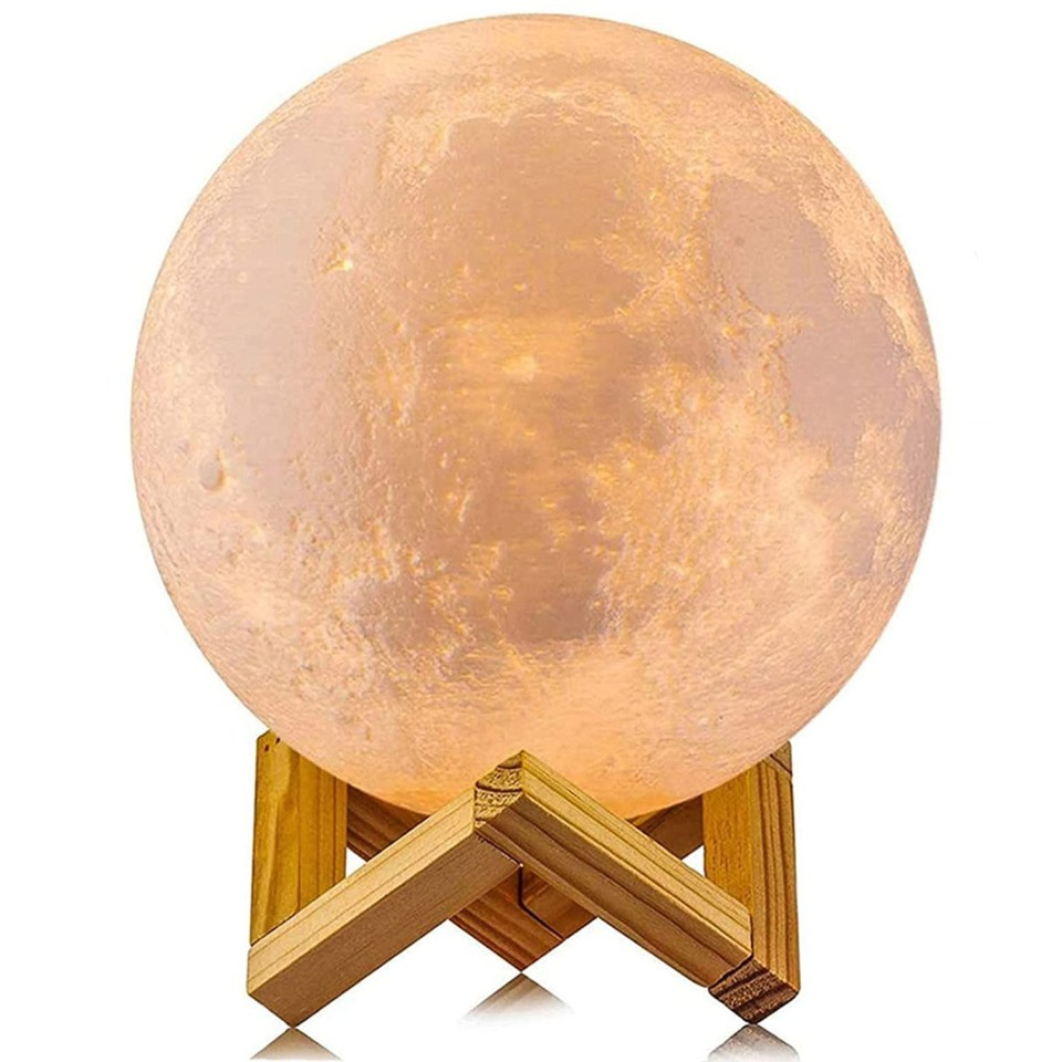 glowing moon lamp with wood stand