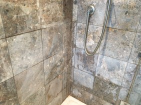 Marble Shower Wall Leatherhead Before Cleaning