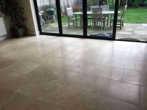Travertine Tiled Kitchen Diner Floor After Cleaning Cobham