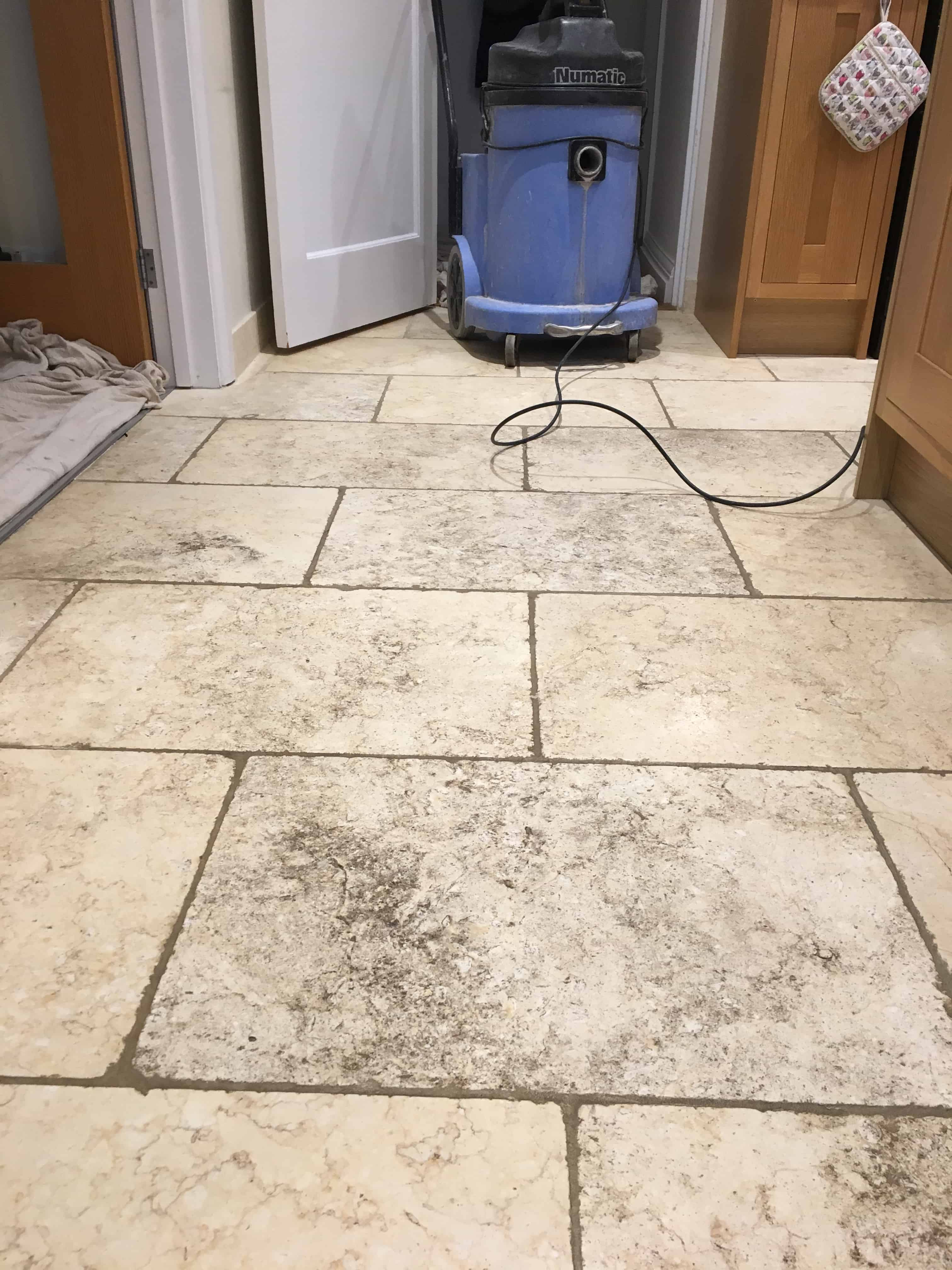 Filthy Limestone Tiled Floor Renovation Before Cleaning Godalming